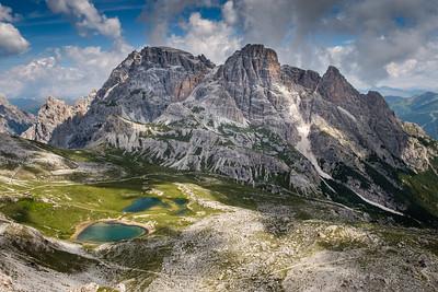 Hora Schusterplatte a jezero Lago del Piani