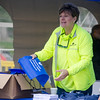 Deborah Weymouth, CEO and President of HealthAlliance Hospital, hands out free bags during the hospital's Family Day event on Saturday morning. SENTINEL & ENTERPRISE / Ashley Green