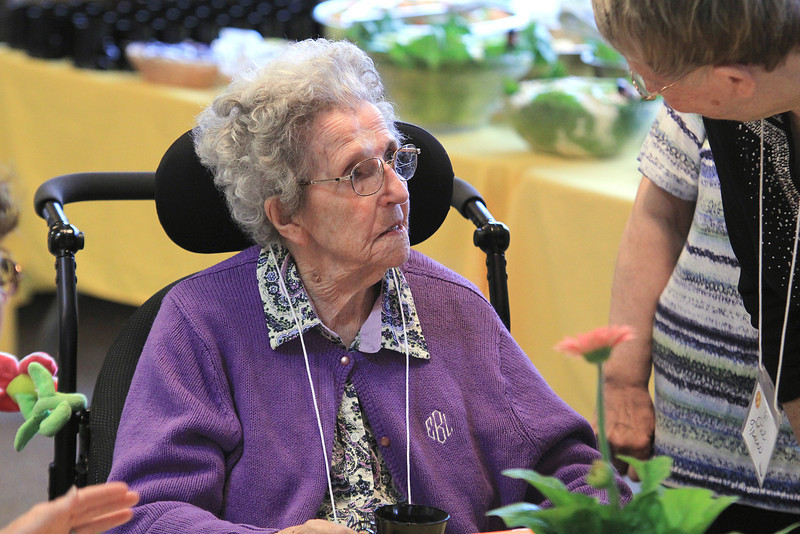 The Burbank Hospital School of Practical Nursing, which is now The Highlands a life care center, held its 100th annivesary on Tuesday a noon with a luncheon at the Highlands facility. Enjoying herself at the event was Emelia Bourque, 99, sitting, who graduated from the school in 1937. SENTINEL & ENTERPRISE/JOHN LOVE