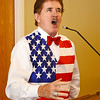 Boston Bruins national anthem singer Rene Rancourt serenades the crowd during the ribbon cutting ceremony for the Gardner Rehabilitation and Nursing Center on Wednesday afternoon.  SENTINEL & ENTERPRISE / Ashley Green