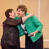 Patricia Normandian receives an award from CEO and President Deborah Weymouth during the HealthAlliance Hospital Champions of Excellence Awards ceremony at the DoubleTree by Hilton Hotel on Wednesday. SENTINEL & ENTERPRISE / Ashley Green