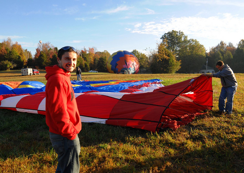 James taking a little break as they wait for Grant to begin inflating the balloon.