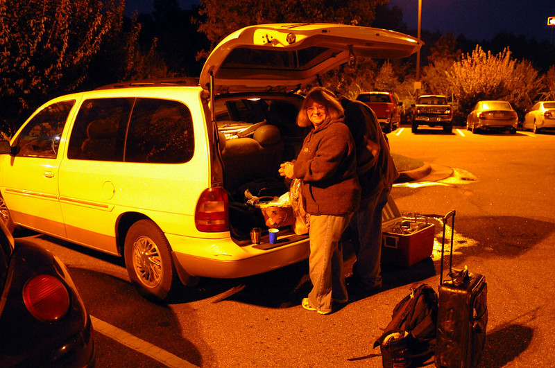 Tailgate breakfast at 6 am in the Marriott parking lot in Hickory.  Getting ready to head out to the annual hot air balloon festival in Statesville, NC.  We were just planning to be spectators and had no idea we'd be in the air a couple hours later.