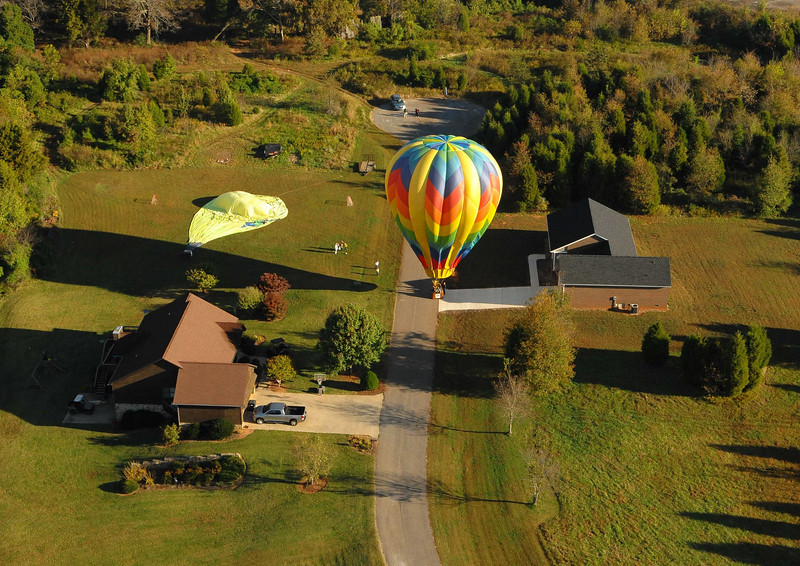 This rural road was a fine landing site for these two balloons.  We have a ways to go yet.