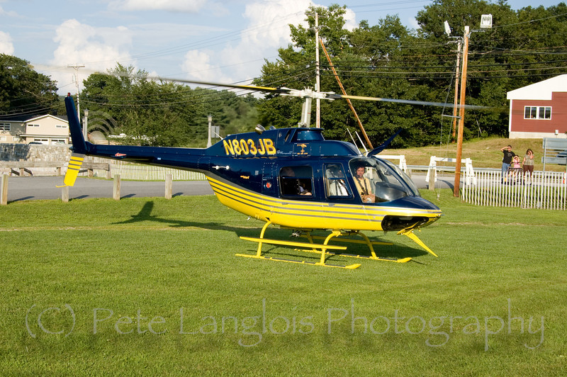 JBI Helicopter preparing for take off at Pittsfield Hot Air Balloon Rally