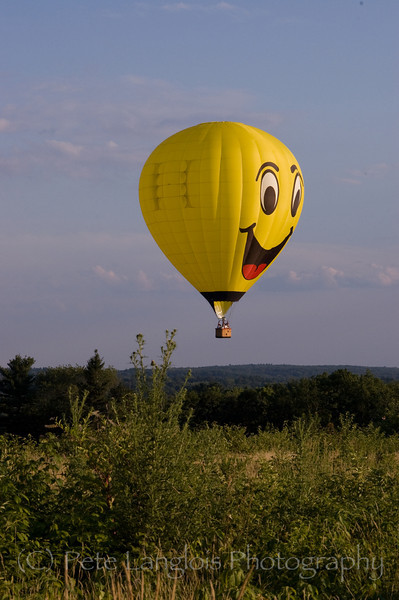 """Smile High"" hot air balloon over Pinkerton Academy in Derry, NH"