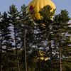 """The Bear Ship"" hot air balloon as it flies over Pinkerton Academy in Derry, NH"