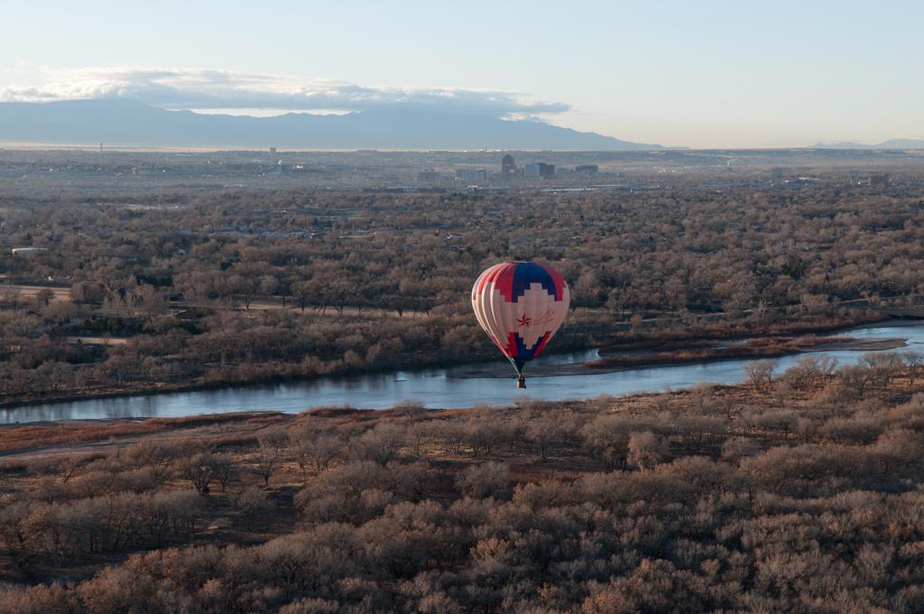 Hot Air Balloon Over Albuquerque, New Mexico<br /> Above the Rio Grande River