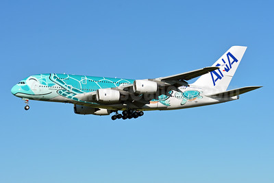 "ANA's second A380, in ""Hawaiian Ocean - Emerald Green"" livery"