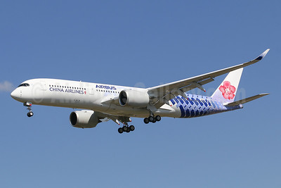 """Last CAL A350, in a special """"carbon"""" livery"""