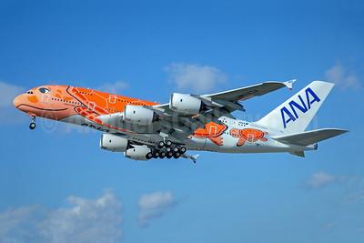 ANA's 3rd A380, orange turtle for Hawaiian Sunset