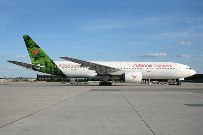 "First Boeing 777, in new ""93% Forest, 100% Surinam"" livery"