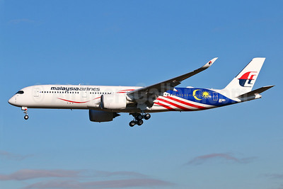 "First flight of Malaysia's 2017 A350 ""Negaraku"" flag livery, delivered on December 22, 2017"