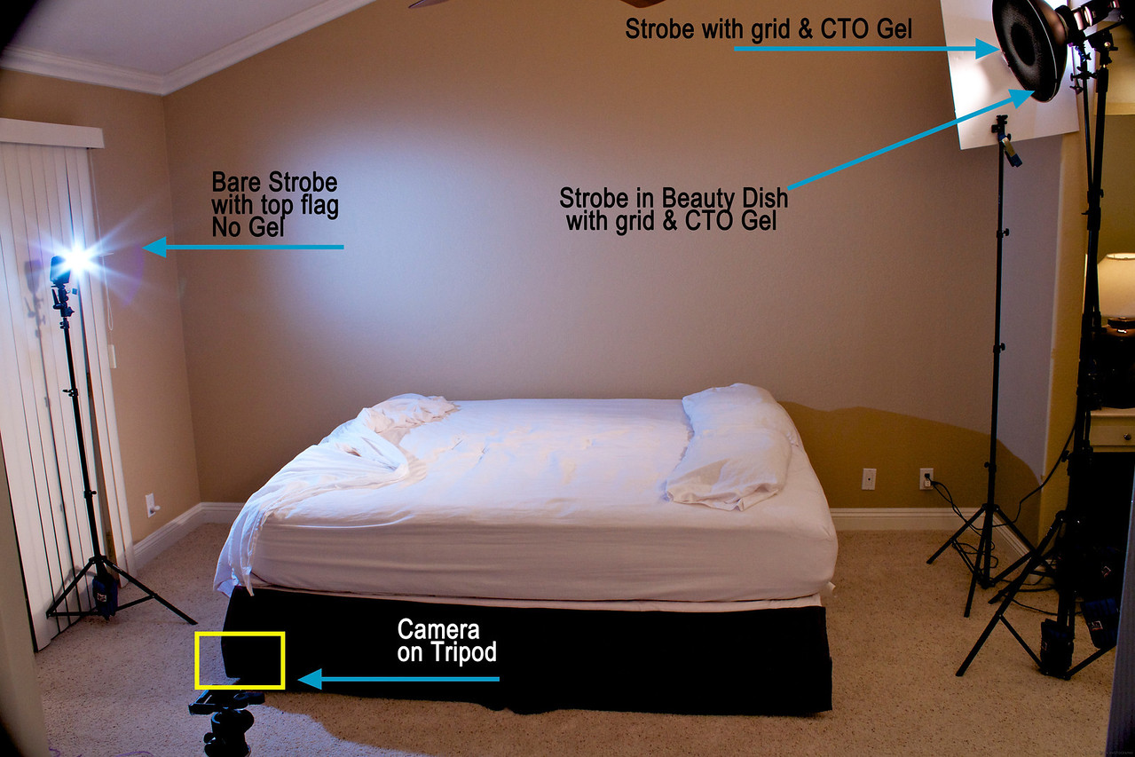 """This is the behind the scenes lighting setup for my shot of """"Light Sleeper"""" in the """"Light"""" competition. The final shot can be seen here:<br /> <a href=""""http://xinacat.smugmug.com/Saddleback-Challenges/2011/Light/18747828_Wm7J9b#1467239254_S49fndt"""">http://xinacat.smugmug.com/Saddleback-Challenges/2011/Light/18747828_Wm7J9b#1467239254_S49fndt</a><br /> <br /> This scene was shot with tungsten white balance on the camera to create a combination of warm room light and simulated cool moonlight entering a window on the left. Canon 580 EXII into gridded beauty dish camera right at full power full CTO gel. Gridded LumoPro LP160 camera right at full power full CTO gel. That strobe required a white foamcore flag to keep excess light from hitting the wall .  Diffused LumoPro LP160 camera left at 1/16 power no gel flagged on top. Lowell 600w Tota light camera right (Not seen from this angle) bounced into 14ft. vaulted ceiling for fill with no gel. With 4 lights, it looks like a lot of light was used, but in reality I needed to bring up the total amount of light in the room to pull off a 1/60 shutter speed at f/8 to eliminate blur and carry enough depth of field. The constant light of the Lowell light brought up the ambient light in the room, and the strobes with grids allowed me to create pools of light to accent the model and still make it seem like a dark room. I also didn't want a lot of noise in the dark areas so with this amount of light I was able to shoot at an ISO of 320. The model was shot in place above the bed... but you will have to figure out how she floated there!<br /> Thank you to those that voted for the image, and I hope you enjoyed a behind the scenes look at how it was created.<br /> <br /> An additional setup shot can be found here:<br /> <a href=""""http://video-line.smugmug.com/Hot-Off-the-Sensor/Lighting-Setups/14257778_3LGNj4#1543897630_sRTP45j"""">http://video-line.smugmug.com/Hot-Off-the-Sensor/Lighting-Setups/14257778_3LGNj4#1543897630_sRTP45j</a>"""