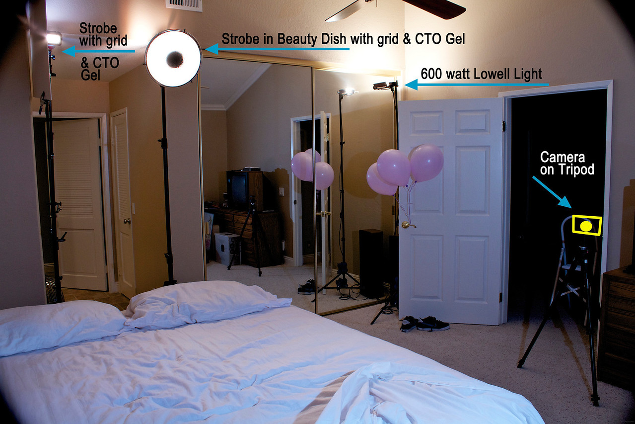 """This is the behind the scenes lighting setup for my shot of """"Light Sleeper"""" in the """"Light"""" competition. The final shot can be seen here: <a href=""""http://xinacat.smugmug.com/Saddleback-Challenges/2011/Light/18747828_Wm7J9b#1467239254_S49fndt"""">http://xinacat.smugmug.com/Saddleback-Challenges/2011/Light/18747828_Wm7J9b#1467239254_S49fndt</a><br /> <br /> This is an alternate angle taken to show the Lowell light and get a better view of the 2 strobes with grids. The beauty dish with grid was used to light the body of the model and the additional strobe with grid (far left) was needed to add a brighter spot of light on the model's face.  As you can see in this shot, real helium balloons were used. Good thing I bought extras, because 2 escaped and were resting at the top of the vaulted ceiling. Had to go get those with a ladder after the shoot! An additional setup shot and detailed description is here:<br /> <a href=""""http://video-line.smugmug.com/Hot-Off-the-Sensor/Lighting-Setups/14257778_3LGNj4/1543887779_Rx6T6qp#1543887779_Rx6T6qp"""">http://video-line.smugmug.com/Hot-Off-the-Sensor/Lighting-Setups/14257778_3LGNj4/1543887779_Rx6T6qp#1543887779_Rx6T6qp</a>"""