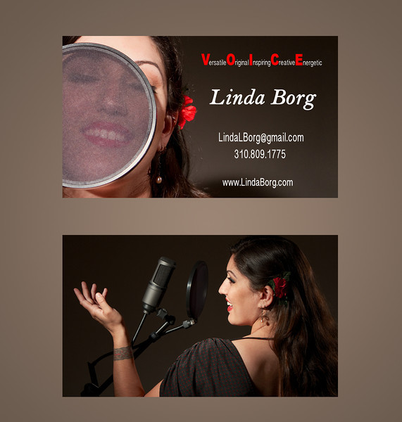 "This is my friend Linda Borg. She is a Voice Over Artist and I shot the images for the front & back of her business cards seen above.  Please check out her web site at:  <a href=""http://www.lindaborg.com"">http://www.lindaborg.com</a>"