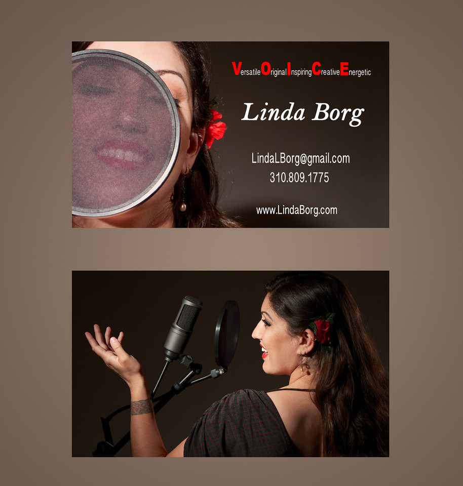 """This is my friend Linda Borg. She is a Voice Over Artist and I shot the images for the front & back of her business cards seen above.  Please check out her web site at:  <a href=""""http://www.lindaborg.com"""">http://www.lindaborg.com</a>"""