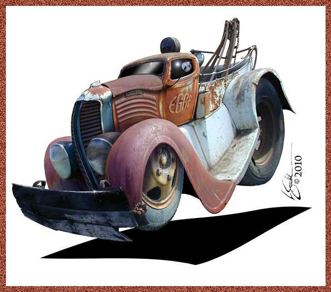 Poster illustration - 1937 Dodge Wrecker - EGGE Machine Anniversary poster