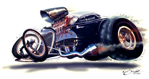 This was my first digital caricature as a practice piece, loosely based on my 1934 Ford coupe 'Jersey Suede' .