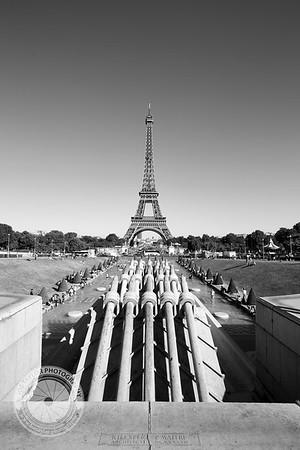 Paris Eiffel Tower Portrait BW