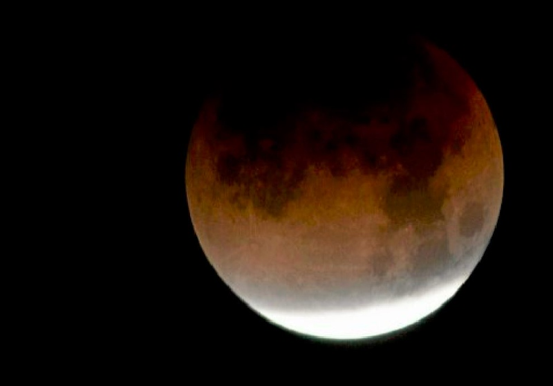 . The super blue blood moon lunar eclipse hangs high in the sky early Wednesday morning. The rare celestial trilogy of having a super moon, a blue moon and lunar eclipse, which according to NASA will happen again Jan. 31, 2037. (Joel Rosenbaum -- The Reporter)