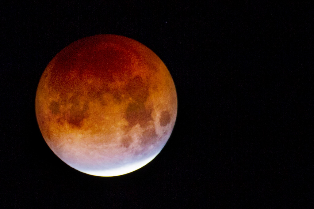 . The super blue blood moon moves toward total eclipse during the early morning hours in Corte Madera, Calif. Wednesday, Jan. 31, 2018. (James Cacciatore/Special to the Marin Independent Journal)