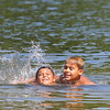 Frank Delgado, 9, and his brother Evan Delgado, 7, of Lunenburg ejoy themself in Lake Whalom Thursday as they try to stay cool in the 90+ heat. SENTINEL & ENTERPISE/JOHN LOVE