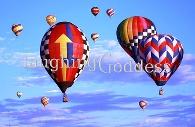 Title: Eleven Eleven brightly colored hot airs float across the sky at the Albuquerque Hot Air Balloon Festival.