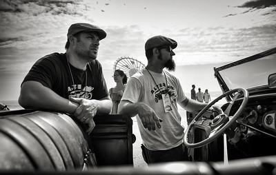 Peter Flaven and Eli English of the Alter Boys Car Club wait to tear up the sand.