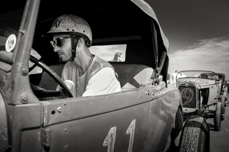 """Famed painter, pinstriper and all around hot rodder, Travis """"Tuki"""" Hess lines up his '29 roadster in Wildwood."""