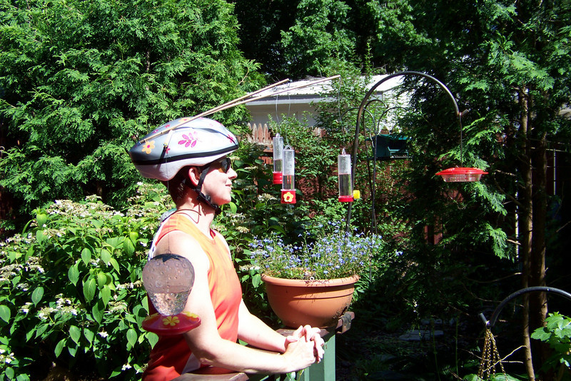 Lou's second generation Hummingbird Helmet needs an air conditioner.