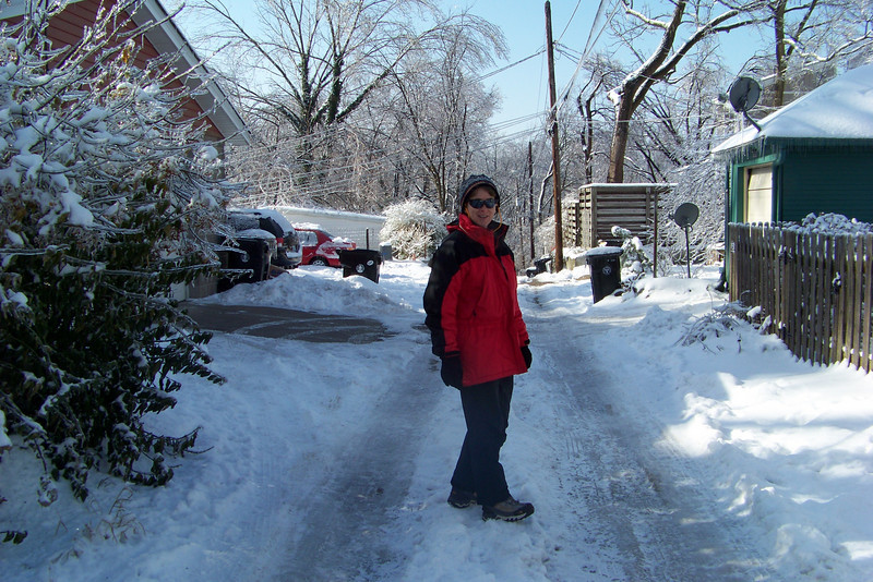 Day 5 after the great rain of ice and snow: the sun is finally out and the temperature approaching something tolerable, so we take a walk to Tyler Park to survey the damage. We venture down the alley because we don't want to attempt to descend our front steps!