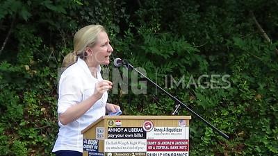 Abigail Spanberger speaks at rallies in Orange and Louisa counties