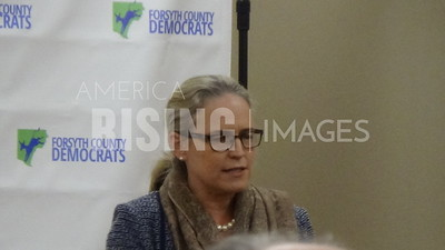 Carolyn Bourdeaux Speaks At Campaign Briefing In Decatur, GA