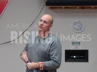 JD Scholten at Town Hall in Goldfield, IA