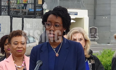 Lauren Underwood and Jackson Lee Speak At Black Mamas Lives Matter Press Conference At The House Triangle At The Capitol In Washington, DC