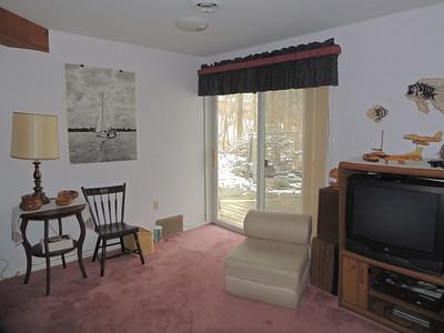 Lower level family room.  Patio doors overlook water garden.