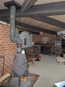Wood stove and living room