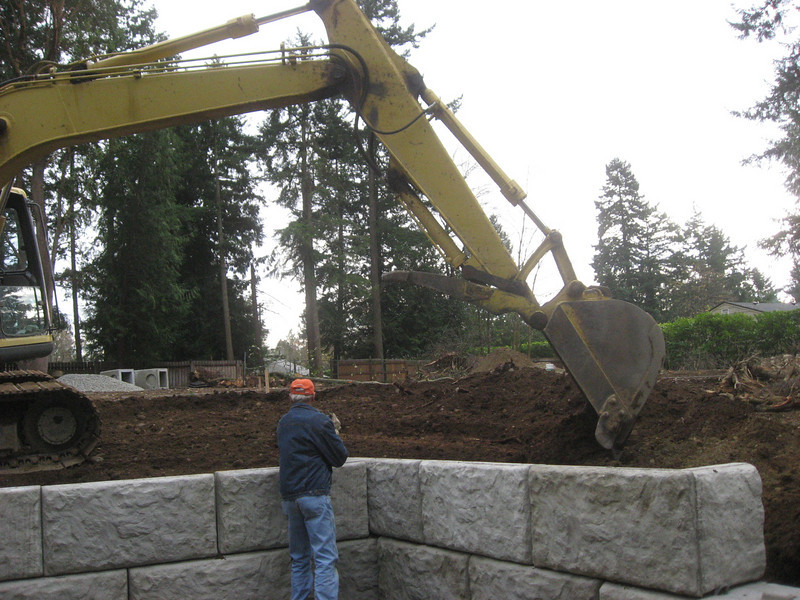 Backfilling the wall.