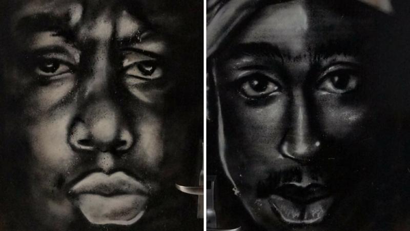 Biggie and Tupac Wall Murals