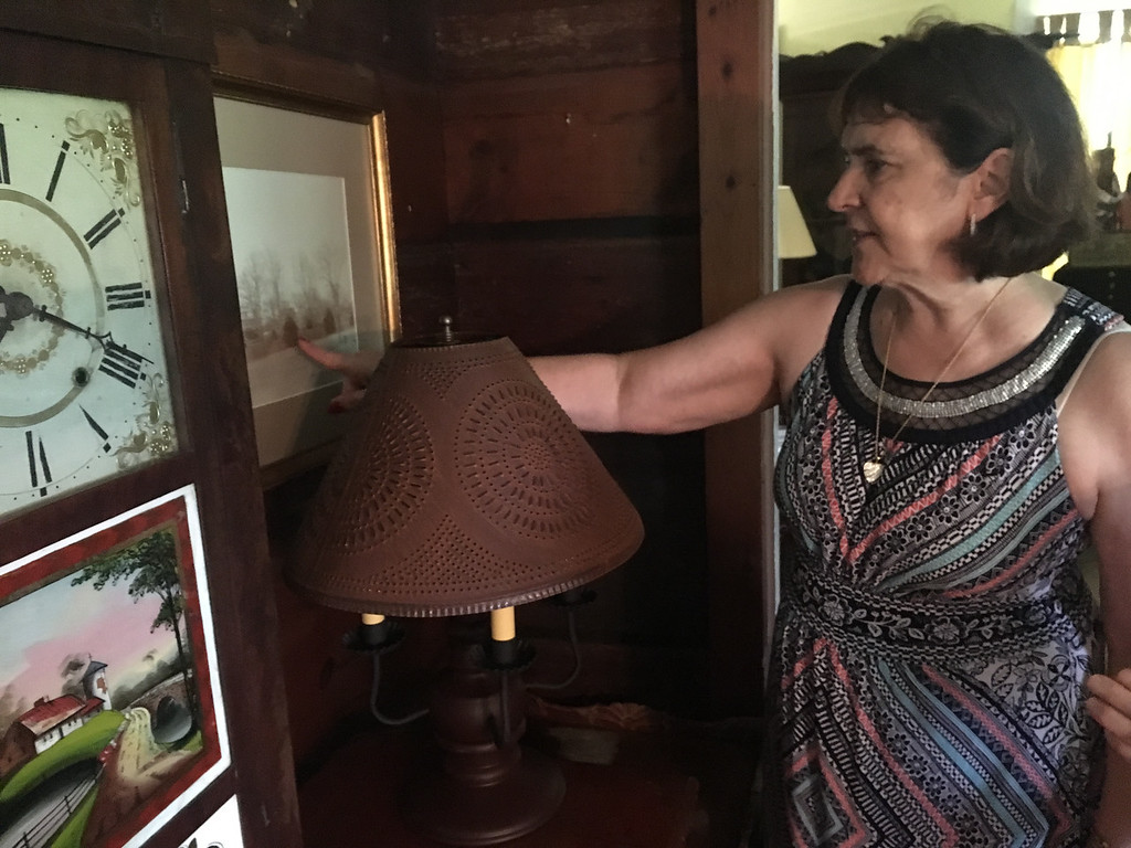 . Diane Douglas, member of the Billerica Historical Society, led free tours of the Clara Sexton House on July 1. Photo by Mary Leach