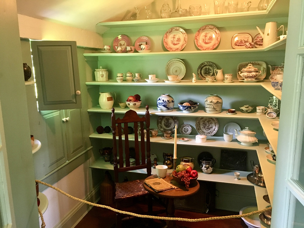 . A kitchen pantry served as a display case for many old household items. Photo by Mary Leach