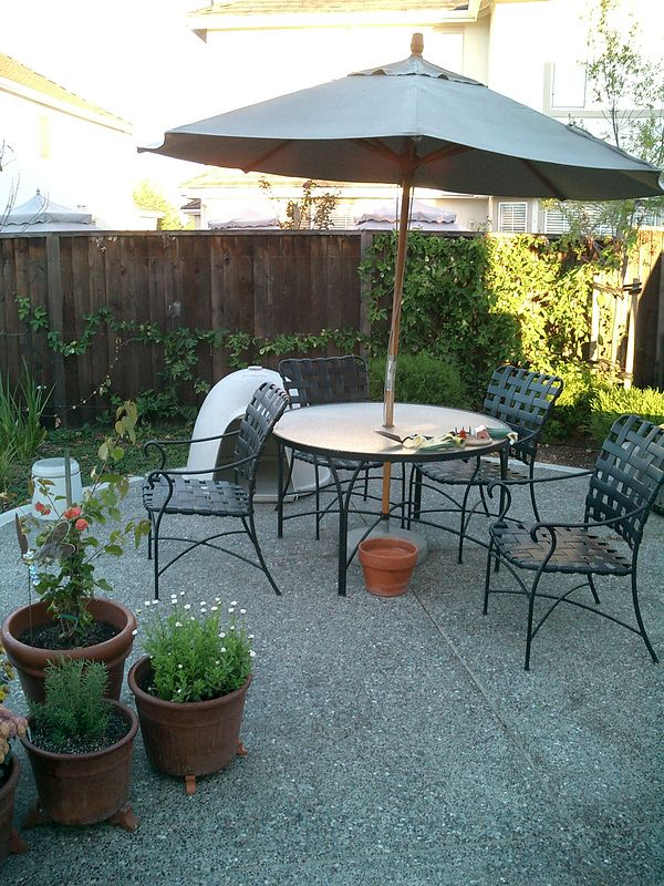 Small table and chairs. The chairs have survived 6 years in the Sun with very little wear