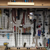 The right side of the primary workbench.  Cutting tools, filing tools, and bicycle specific tools.