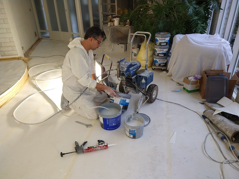 Robert is preparing for the spraying