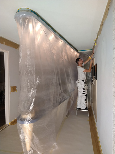 masking before spraying the ceilings