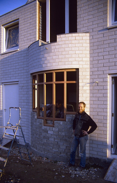 kitchenwindow with a round glassframe (Febr.1990, building my house)