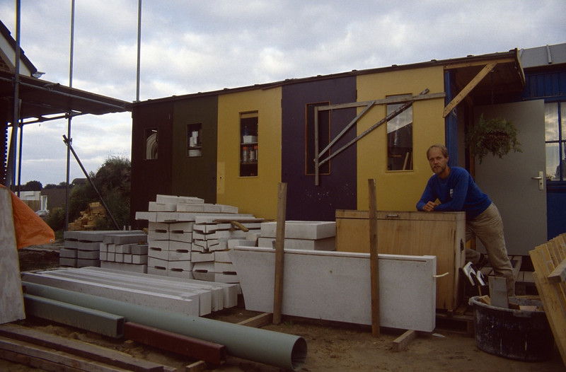 selfmade concrete modules in store the results of prefabricationworks by Henk Kemps and myself (building my house)