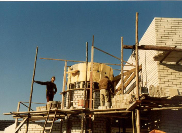 outside of the spiral staircase tower (Nov. 1989, building my house)
