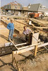 column formwork, Jeroen supervises (May 1989, building my house)